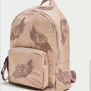 ZARA | Blush embroidered backpack